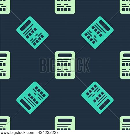 Green And Beige Exam Sheet Icon Isolated Seamless Pattern On Blue Background. Test Paper, Exam, Or S
