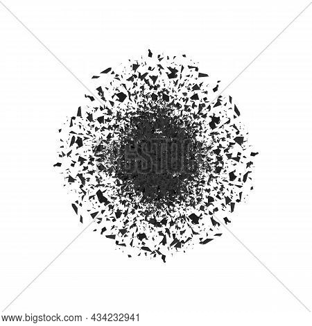 Explosion Cloud Of Black Pieces On Gray Background. Sharp Particles Randomly Fly In The Air. Big Exp