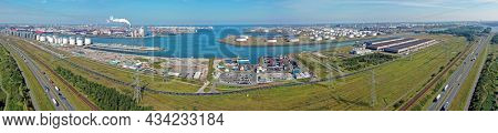 Aerial panorama from industry in the harbor from Rotterdam in the Netherlands