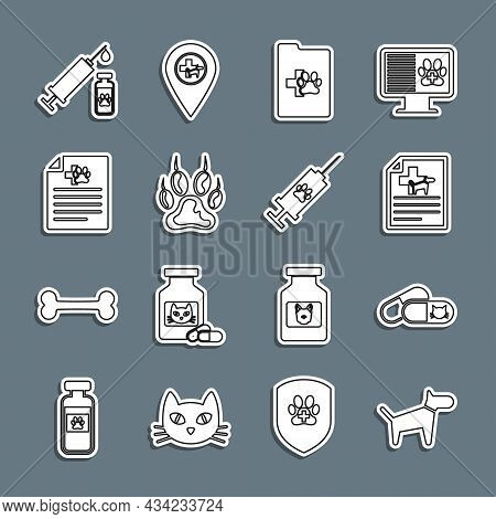 Set Line Dog, Cat And Pills, Medical Certificate For Dog Or Cat, Clinical Record Pet, Paw Print, Syr