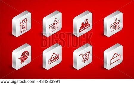 Set Line Signboard Hanging, Shopping Basket, Cash Register Machine, With Check Mark, Refresh Shoppin