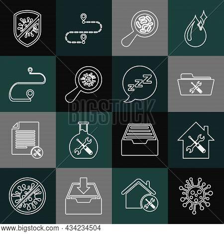 Set Line Bacteria, House Service, Folder, Microorganisms Under Magnifier, Route Location, Stop Virus