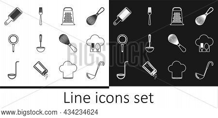 Set Line Kitchen Ladle, Chef Hat With Fork And Spoon, Grater, Frying Pan, Whisk And Fork Icon. Vecto