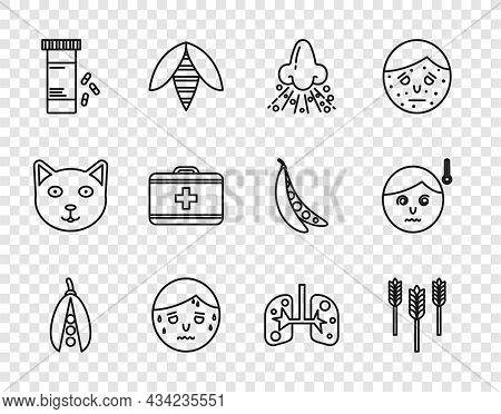 Set Line Kidney Beans, Wheat, Runny Nose, Man With Excessive Sweating, Medicine Bottle And Pills, Fi