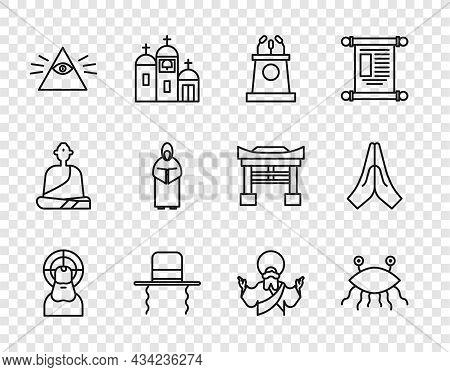 Set Line Jesus Christ, Pastafarianism, Stage Stand Or Tribune, Orthodox Jewish Hat With Sidelocks, M