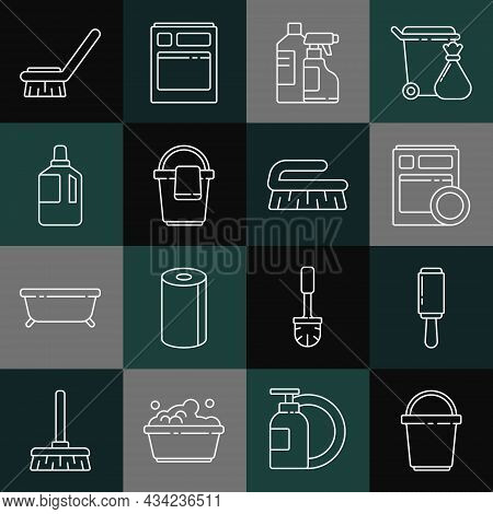Set Line Bucket, Adhesive Roller, Kitchen Dishwasher Machine, Bottles For Cleaning Agent, With Rag,