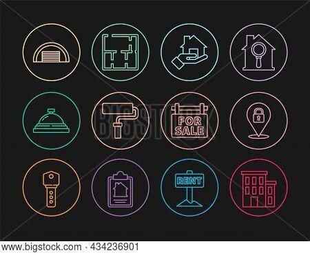 Set Line House, Location Lock, Realtor, Paint Roller Brush, Hotel Service Bell, Garage, Hanging Sign