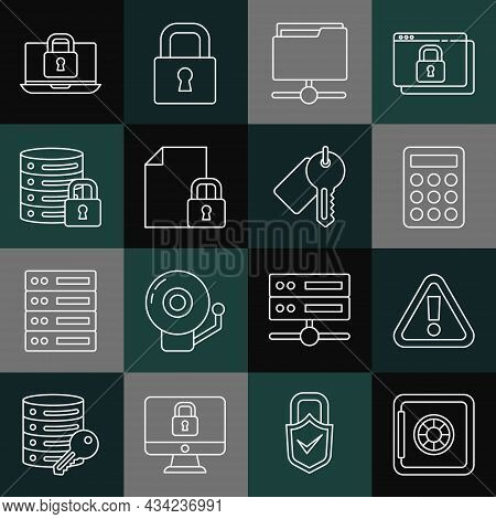 Set Line Safe, Exclamation Mark In Triangle, Password Protection, Ftp Folder, Document And Lock, Ser