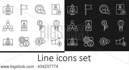 Set Line Pie Chart And Dollar, Hot Air Balloon, Create Account Screen, Startup Project Concept, Proj