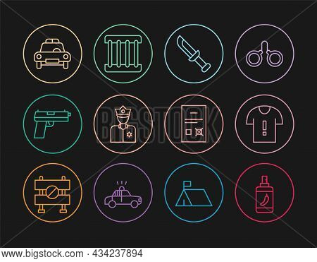 Set Line Pepper Spray, T-shirt Protest, Military Knife, Police Officer, Pistol Or Gun, Car And Flash