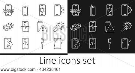 Set Line Glass Screen Protector, Hammer, Mobile With Shield, Phone Repair Service, Broken, Waterproo