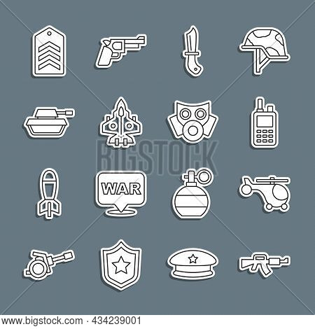 Set Line M16a1 Rifle, Helicopter, Walkie Talkie, Military Knife, Jet Fighter, Tank, Chevron And Gas