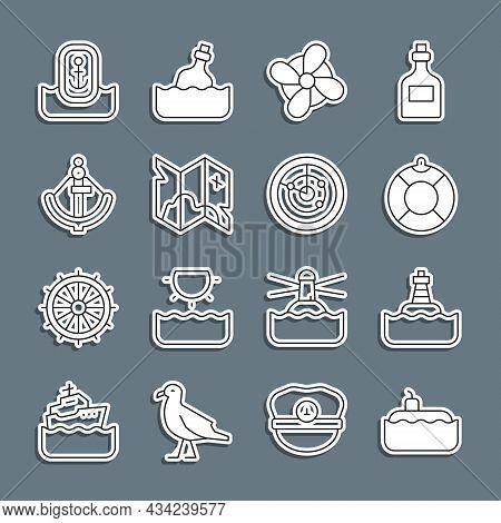 Set Line Submarine, Floating Buoy, Lifebuoy, Boat Propeller, Pirate Treasure Map, Anchor, Location W