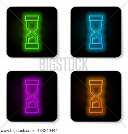 Glowing Neon Line Old Hourglass With Flowing Sand Icon Isolated On White Background. Sand Clock Sign