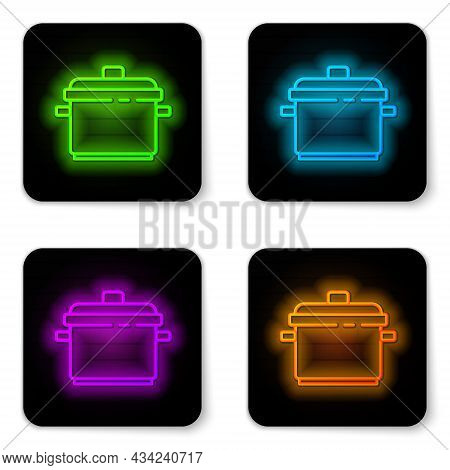 Glowing Neon Line Cooking Pot Icon Isolated On White Background. Boil Or Stew Food Symbol. Black Squ