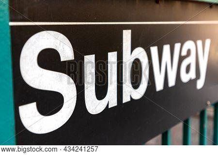New York City Subway Sign Entrance In New York City, Ny, Usa