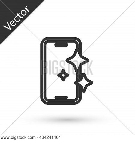 Grey Line Glass Screen Protector For Smartphone Icon Isolated On White Background. Protective Film F