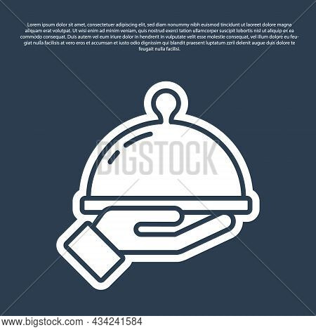 Blue Line Covered With A Tray Of Food Icon Isolated On Blue Background. Tray And Lid Sign. Restauran