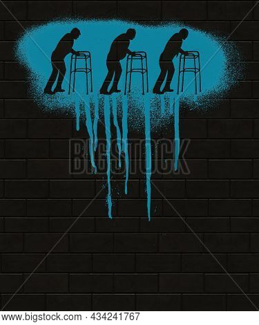 Graffiti Of Old Men Walking With Walkers Is Spray Painted On A Brick Wall And Is Seen At Night. This