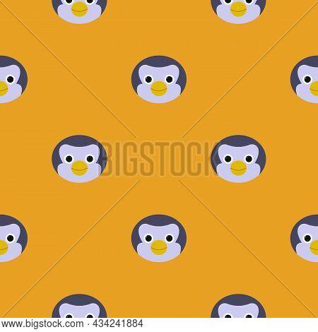Cute Penguin - Color Flat Pattern. Cold Winter Symbol. Antarctic Bird, Animal Illustration.