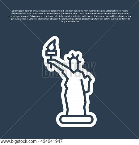 Blue Line Statue Of Liberty Icon Isolated On Blue Background. New York, Usa. Vector
