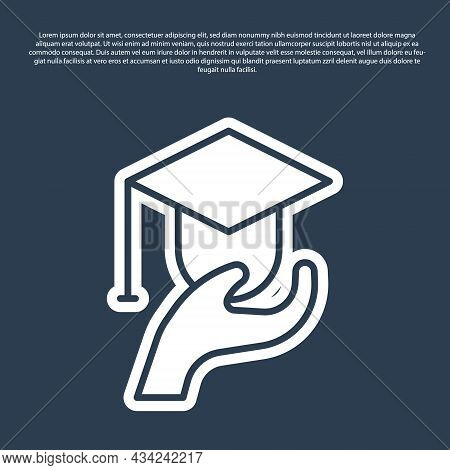 Blue Line Education Grant Icon Isolated On Blue Background. Tuition Fee, Financial Education, Budget