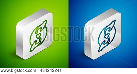 Isometric Line Pleasant Relationship Icon Isolated On Green And Blue Background. Romantic Relationsh
