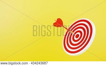 Dart Arrow Hitting To Center On Bullseye (bull's-eye) Dartboard Is Target Of Purpose Challenge Busin
