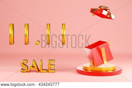 11.11 Single Day Sale. Banner With Red Gift Box On Podium Scene On Pink Background, Banner Template