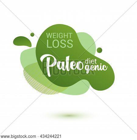 Paleo Diet Frendly Badge. Green Amoeba Design Of Sticker For Paleo Diet Menu, Poster, Flyer.