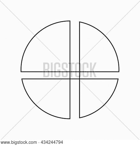 Circle Segments Icon. Hand Drawn Picture. Business Backdrop. Simple Flat Design. Vector Illustration