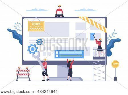 Software System Under Maintenance Vector Illustration. Error Website, Development And Update Webpage