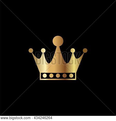 Golden Crown Icon. Crown Isolated On Black Background. Royal Crown Logo Design. Luxury Crown Icon Ve