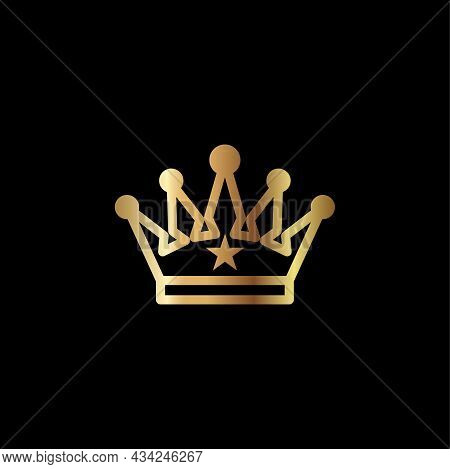 Crown Icon Vector Illustration. Golden Crown Isolated On Black Background. Royal Crown Logo Design.