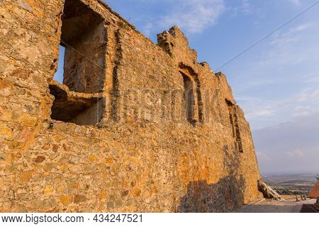 Stone tower of the old castle in the ancient town of Castelo Rodrigo in Portugal