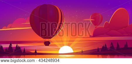 Sunset Landscape With Flying Hot Air Balloons, Lake And Sun On Horizon. Vector Cartoon Illustration