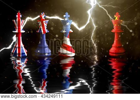 Us Australia And Great Britain Flags Paint Over On Chess King.aukus Defense Pact. 3d Illustration Au