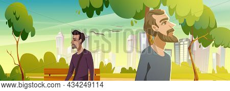 Men Walk In City Park. Summer Landscape Of Public Garden With Green Trees And Grass, Wooden Bench An