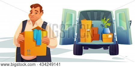Move To New House, Relocation. Man Loading Boxes In Car Trunk, Delivery Service, Shipping Company Po