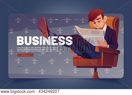 Business Man Read Newspaper Cartoon Landing Page. Businessman Sitting On Chair Reading Finance News