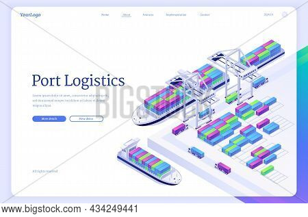 Port Logistics Isometric Landing Page, Ship Freight Transportation, Delivery Service Company, Cargo