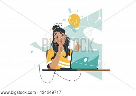 Young Woman With Bright Idea Vector Illustration. Girl With Creative Thought Or Idea Drink Coffee Fl