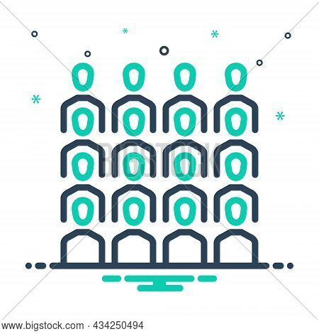 Mix Icon For Cluster Group Team Congregation Conglomeration Gather Assemble Crowd Flock People