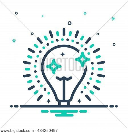 Mix Icon For Bright Shining Light Sparkling Flashing Bulb Luminous Illumination Electric Creative Li