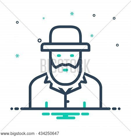 Mix Icon For Israeli Culture Civilization Human Country Ethnic Costume People Jewish-man