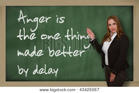 Teacher Showing Anger Is The One Thing Made Better By Delay On Blackboard