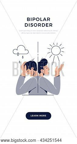 Bipolar Disorder Banner. Man Suffers From Mood Swings, Split Mania And Depression Period. Manic Depr