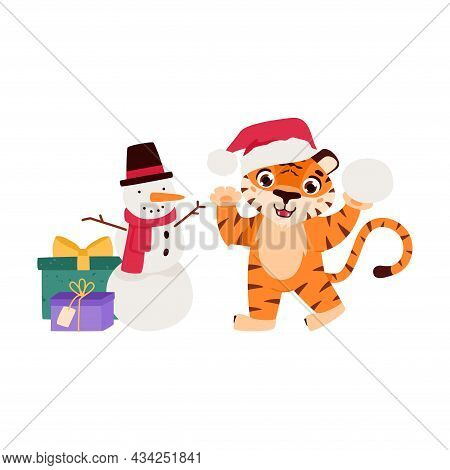 Cheerful Tiger With A Snowman And Gifts. The Symbol Of The Chinese New Year. Cartoon Animal. Eastern