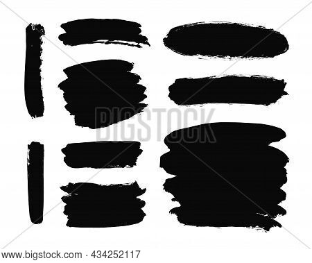 Set Of Hand Drawn Backdrops To Highlight Text Vector Elements For Infographic. Black Texture Objects