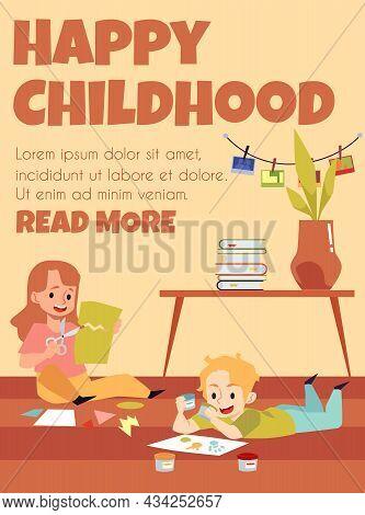 Creative Children Spending Leisure Making Crafts In Kindergarten Or Art Class.